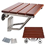 GOFLAME Bath Seat Bench Folding Wood Shower Chair Wall Mounted Solid Construction