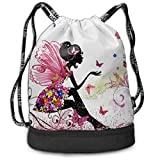 PmseK Turnbeutel Sportbeutel Kordelzug Rucksack, Sporttasche Butterfly Girl with Flower Shoulder Bags Travel Sport Gym Bag Print - Yoga Runner Daypack Shoe Bags...