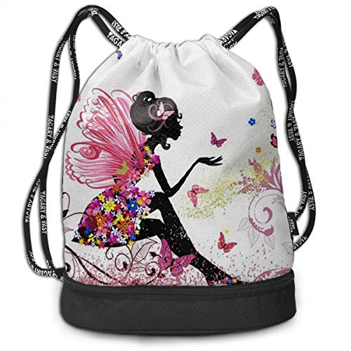 PmseK Turnbeutel Sportbeutel Kordelzug Rucksack, Sporttasche Butterfly Girl with Flower Shoulder Bags Travel Sport Gym Bag Print - Yoga Runner Daypack Shoe Bags with Zipper and Pockets