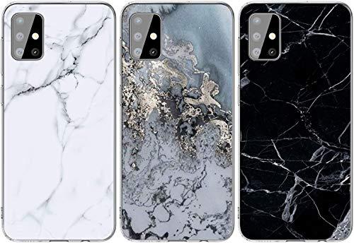 Yiscase Marmor Hülle Kompatibel mit Samsung Galaxy A51 Hülle Silikon, Glänzend Weich TPU Handyhülle Ultra Dünn Flexibles Handytasche Schutzhülle Marble Hülle [3 Stück] - Grau Weiß, Grau, Schwarz