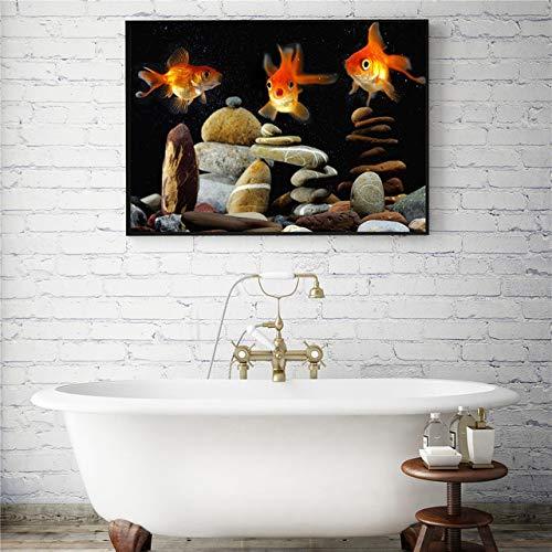 Marine life hand malerei tuch ölgemälde poster und druck dekoration abstrakte wohnzimmer wandbild (kein rahmen) A4 40x50 CM