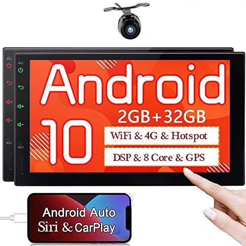 Doppel Din Radio Android Auto Autoradio Carplay Bluetooth Moniceiver Mit Navigation 7 Zoll Touchscreen 2din Radio GPS Sat Navi mit Rückfahrkamera Naviceiver Aux Video Out Multimedia Car Play DSP