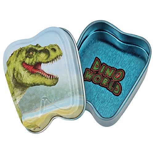 Depesche 5615 Blechdose Dino World, ca. 5,4 x 4,3 x 1,9 cm, Sortiert
