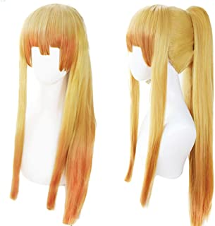 ANOGOL Wig Cap+Long Straight Wigs with Pigtail Golden Yellow Wig Cosplay ponytail for Anime