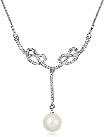 KRYSTAL COUTURE Swarovski Crystal Pearl Necklace White Pearl White 18K White Gold Plated Alloy Casual Jewellery Trends for Women