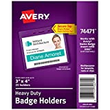 Avery Heavy-Duty Clear Badge Holders, Fits Inserts up to 3' x 4', Landscape, 25 Holders (74471)