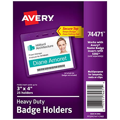 Avery Heavy-Duty Clear Badge Holders, Fits Inserts up to 3
