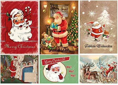 Biglietti di Natale vintage nostalgico, set di biglietti di Natale, 30 pezzi (vintage, 30)