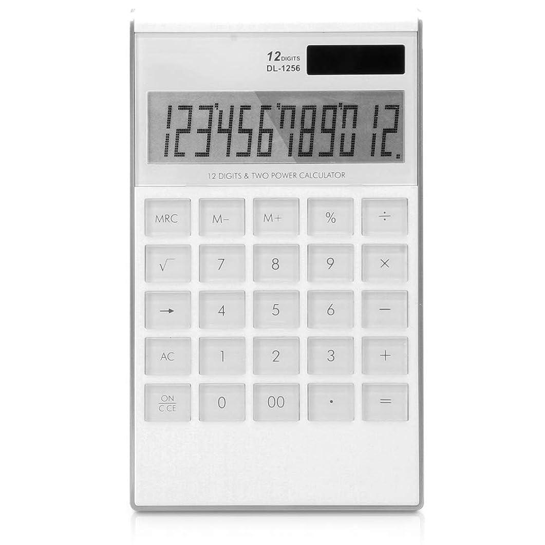 基本電卓 財務電卓12ビット多機能オフィスビジネス音声デスクトップ大規模電卓 オフィスデスクトップ電卓 (色 : 白)