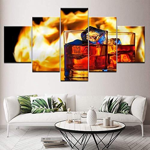 DGGDVP canvas schilderij twee kopjes zwarte whisky 5 stuks muurkunst schilderij modulaire behang poster afdrukken voor woonkamer wooncultuur 40x60cmx2,40x80cmx2,40x100cmx1 Met frame.