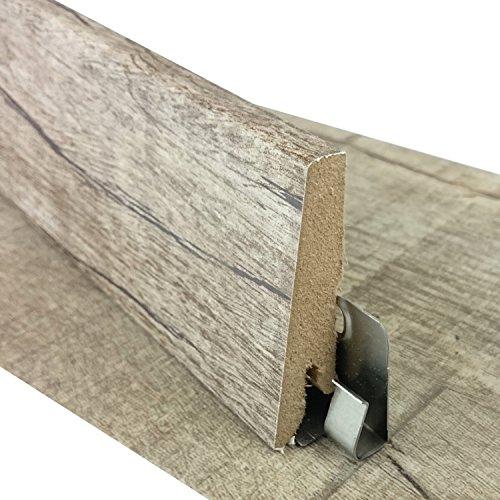 Sockelleiste für TRECOR® Klick Vinylboden - Länge: 240 cm - Höhe: 60 mm - Tiefe: 18 mm - WASSERFEST - (Sockelleiste | 1 Stück, Eiche Old Rustik)