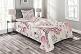 Lunarable City Love Bedspread, Iconic Elements of Paris Hearts on The Eiffel Tower and a Bicycle, Decorative Quilted 2 Piece Coverlet Set with Pillow Sham, Twin Size, Purple Pink