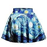 2019 Estate Big Girl Van Gogh Notte Stellata Galaxy Stampa Gonne Casual Ball Gown Gonna Principessa Bambini Che Ballano Bambini 3D Abbigliamento-125cm-145cm-SBGU009
