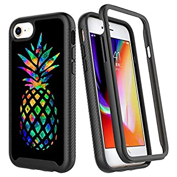 iPhone SE 2020 Case,iPhone 7 Case,iPhone 8 Case,Fashion Colorful Pineapple Design Luxury Shockproof Rugged Cover Dual Layer Soft TPU + Hard PC Bumper Full-Body Protective Case for iPhone 6/iPhone 6s