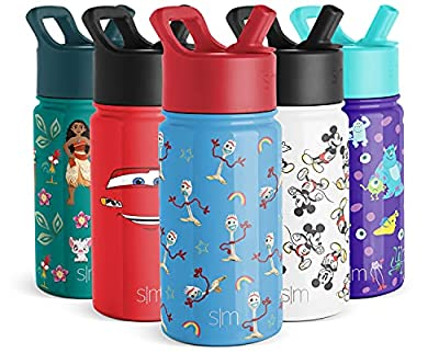Simple Modern Disney Water Bottle for Kids Reusable Cup with Straw Sippy Lid Insulated Stainless Steel Thermos Tumbler for Toddlers Girls Boys, 14oz, Toy Story: Forky by Simple Modern