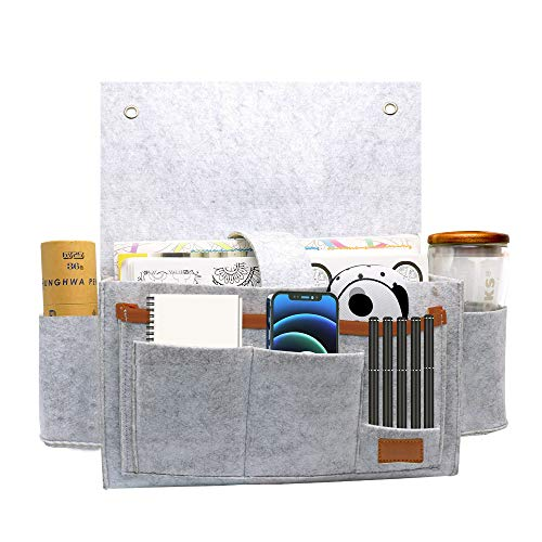 Jior Bedside Organizer Felt Bed Hanging Bag Storage Holder Bedside Organizer Caddy Table Cabinet Storage Pouch for TV Remote Control Magazines Phones Magazines Tablets Accessories
