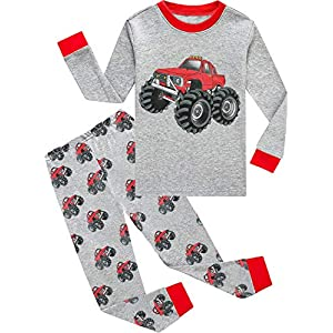 Toddler Boys Pajamas Monster Truck 100% Cotton Kids Dinosaur 2 Piece Garbage Truck Pjs Sleepwear Clothes Sets 2-7 Years