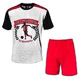 Pijama corto de manga corta + pantalones cortos AC Milan, producto oficial para hombre adulto (gris jaspeado, XXL)