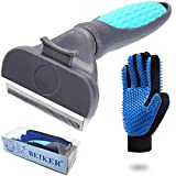 Beiker Self Cleaning Pet De-Shedding Brush Set for Dog & Cat, Professional Pet Grooming Tool Kit for Long - Short Haired Pets Reduces Shedding by up to 98%, Puppy Hair Remover Comb, Soft Rubber Glove
