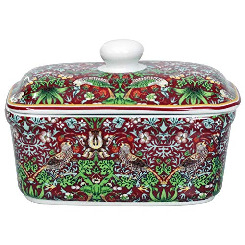 William Morris Red Strawberry Thief Butterdose mit Deckel, Keramik