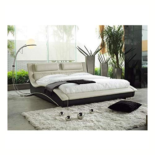 Review Upholstered Bed, King Size Modern Cream Black Faux Leather Upholstered Platform Bed with Head...