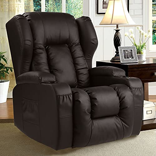 Recliner Chair- Swivel Rocker Recliner Chairs for Nursery, 360 Degree Swivel Ergonomic Manual Glider Rocking Recliner Chair Sofa Home Theater Seating with Lumbar Pillow/Cup Holder/Pockets