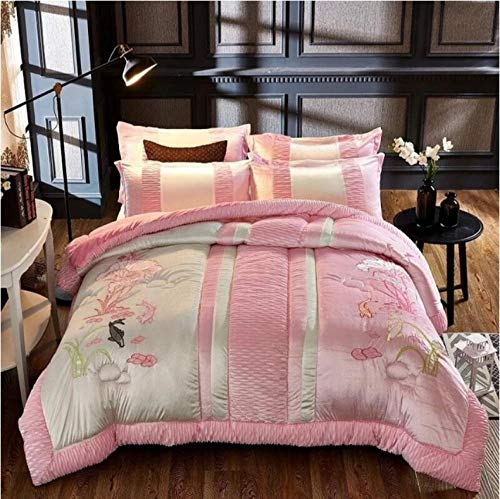 Winter bedroom Quilting duvets Chinese style embroidery process thick Warm quilt Adults soft bedding comforter blankets-Pink_150X200CM/2.5KG