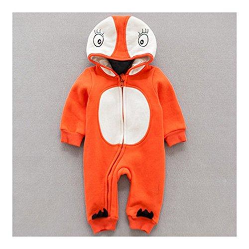 0-24 maanden infant baby jongen meisjes unisex kleding infant babykleding kledingset één stuk coat verdikkend warm jack jumpsuits rompers ondergoed komisch pinguïn oranje 80cm multicolor