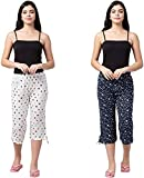 Safeshop - (Pack of 2) Women's Cotton Capri Night Pyjamas Nightwear Capri for Girls and Women Printed 3/4 Pyjama, Free Size (fits from 28-36 inches Waist), Prints May Vary (Assorted Colours) T