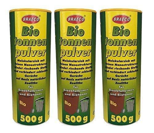 Preisjubel 3 x 500g Biotonnenpulver Mülleimer-Pulver, Vorbeugen gegen Maden Abfalltonne