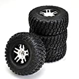 Set of Four BF Goodrich Mud Terrain Tires Pre-Glued on Split Spoke Satin Chrome, Black Beadlock-Style Wheels