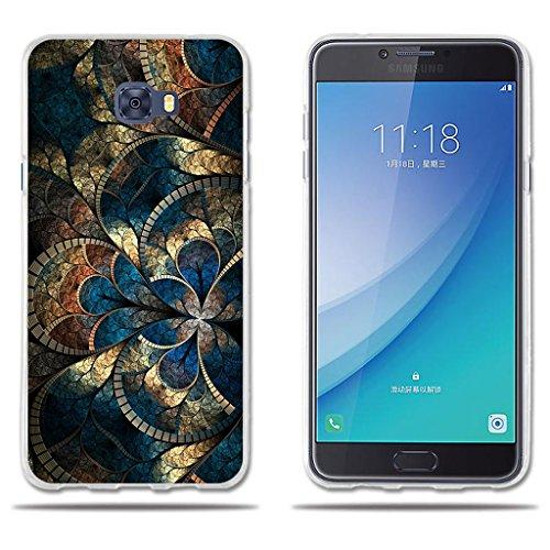 Fundas Carcasas para Samsung Galaxy C7 Pro, Gel de Silicona TPU Carcasas- FUBAODA- Hermoso Dibujo de Mandala, Carcasa Protectora de Goma de Calidad Superior para Samsung Galaxy C7 Pro (5.7')