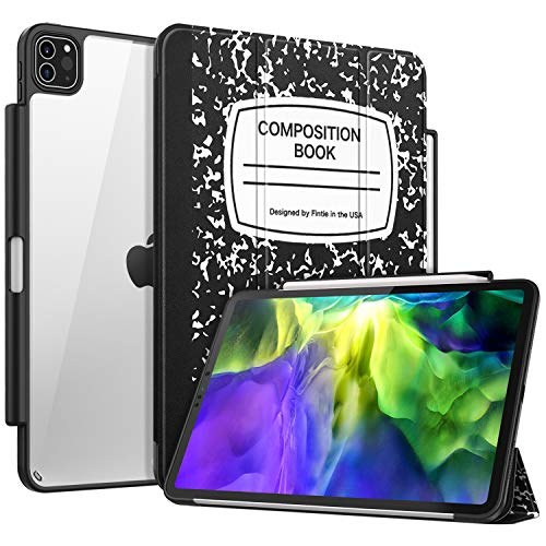 Fintie Case with Pencil Holder for iPad Pro 11' 2020/2018 [Supports 2nd Gen Pencil Charging] - Slim Transparent Clear Hard Back Cover with Soft TPU Edge, Auto Wake/Sleep, Composition Book Black