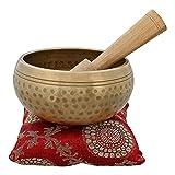 Instrumento musical para meditación con mazo y cojín, 10 cm, cuenco budista tibetano con campana de metal, calidad superior
