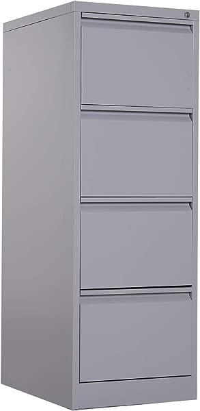 Vinsetto Metal 4 Drawer Vertical Locking Filing Cabinet Grey