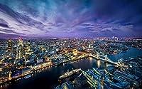 夕方の美しいロンドンの都市、ライト、川、建物、橋 キャンバスの 写真 ポスター 印刷 (90cmx60cm)