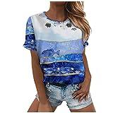 Camiseta de mujer de verano, elegante, de cuello redondo, túnica, con impresión 3D de ballena, océano, deportiva, para adolescentes, niñas, informal, ajustada, de corte ajustado, estilo informal A02 S