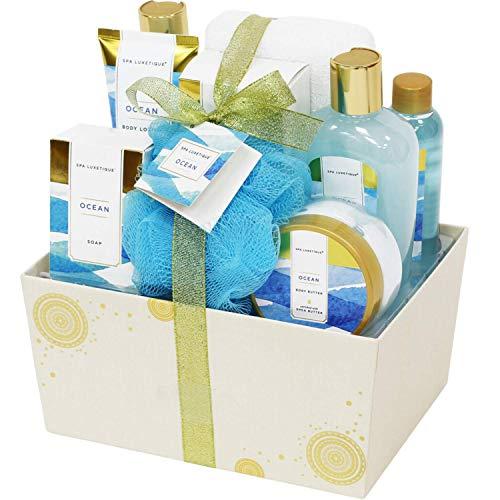 Bad Geschenkset für Frauen, SPA LUXETIQUE 10 tlg. Meeresduft Bad Set Geschenkbox mit Schaumbad, Duschgel, Bodylotion, Badesalz, Badeschwamm, Bade Geschenk zum Geburtstag für Mama