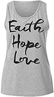 Fashionhe Women Letter Pattern Vest Tank Sleeveless Blouse Shirt Tops Summer Sport T-shirt