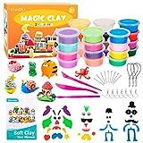 Ucradle Modelliermasse Kit, 24 Farben Lufttrockener Magischer Knete, DIY Kinderknete mit Werkzeugen,...