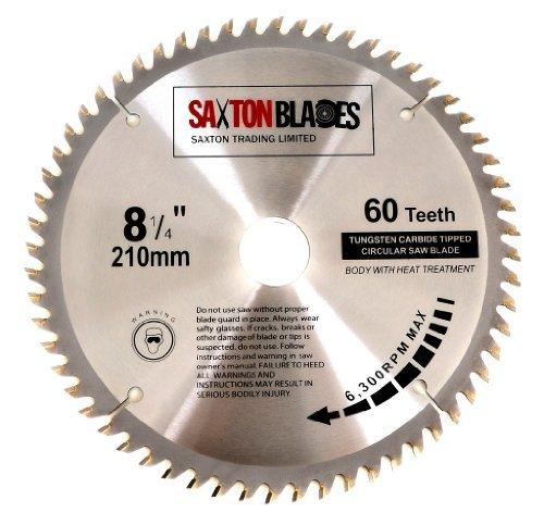 Saxton Hoja de sierra circular de madera TCT 210 mm x 30 mm x 60 T para Festool Bosch Makita Dewalt compatible con sierras de 216 mm