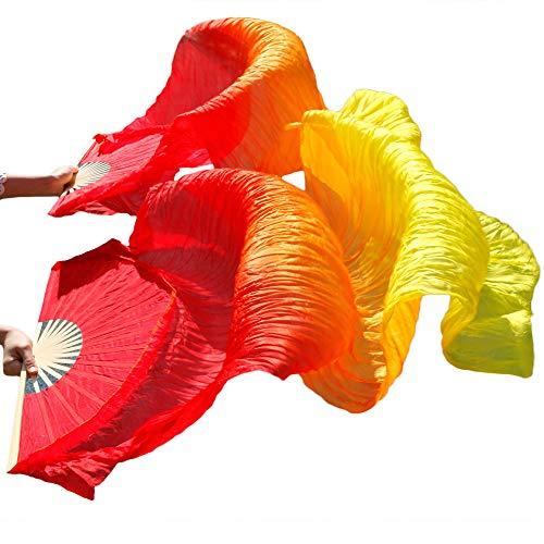 シルクファンベール 2本セット シルク100% ベリーダンス ファンベール シルクファンベール ベール シルク 衣装 扇子 団扇 舞台 小道具 アクセサリー 扇子 団扇 180*90 cm (赤橙黄)