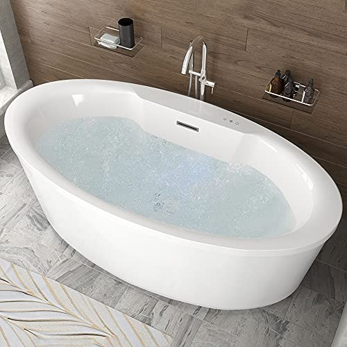 Whirlpool Air Jetted Freestanding Bathtub   Jarvis 67 inch Bubble Massage Jets acrylic Fiberglass Hot Tub in White with Color Lights & Touch Control Pad   Overflow Pop up Drain Included   FT-AZ077