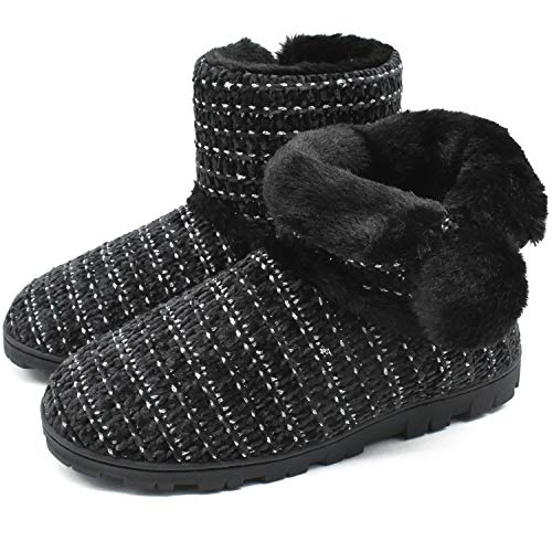 COFACE Pantofole Donna Invernali Peluche Stivaletti Scarpe da Casa Antiscivolo Caldo Morbido Tessuto a Maglia Ciabatte con Pom Poms
