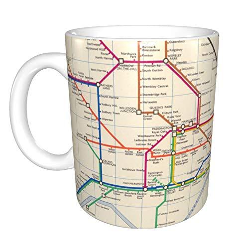 Taza de café de cerámica blanca de 325 ml, diseño de mapa del metro de Londres, color blanco, talla única
