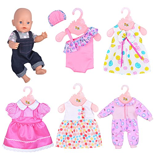 ebuddy 6 Sets Doll Clothes Outfits for 43cm New Born Baby Dolls, 15inch Baby Dolls, 18 Inch American Girl