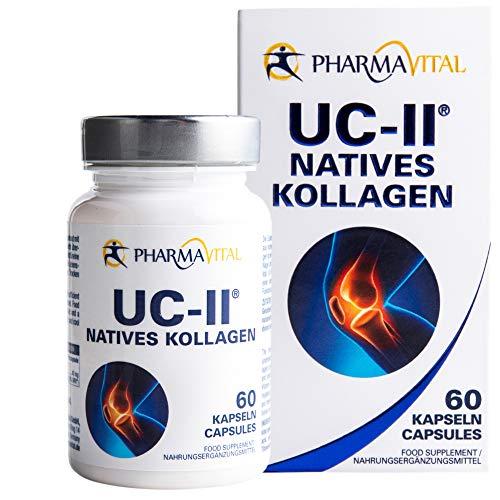 Pharmavital UC-II Natives Kollagen, 60 Kapseln, Collagen Kapseln hochdosiert aus Deutschland, Kollagen-Vitamin-C-Kombipräparat