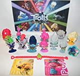 HappiToys Trolls World Tour Movie Deluxe Figure Set of 14 Toy Kit with 10 Figures, 2 Fun Stickers, Bracelet/Ring Featuring Queen Poppy, Branch, Trollex, Trollzart and Many More!