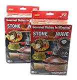 Set of 2 Stone Wave Gourmet Microwave Ceramic Cookers Cookware For One Non-Stick Healthy Steam Heat 7370