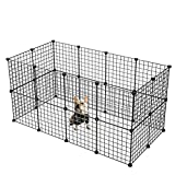 KOUSI Customizable Small Pet Pen Bunny Cage Dogs Playpen Indoor Out Door Animal Fence Puppy Guinea Pigs, Dwarf Rabbits (Black, 24 Panels)